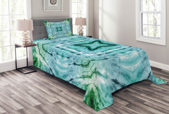 Abstract Teal Figures Bedspread Set