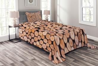 Wooden Lumber Tree Logs Bedspread Set