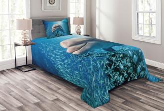 Dolphin in Ocean Marine Bedspread Set