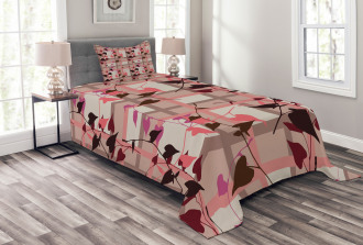 Heart Swirling Leaves Bedspread Set