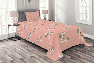 Grunge Circle Flower Art Bedspread Set