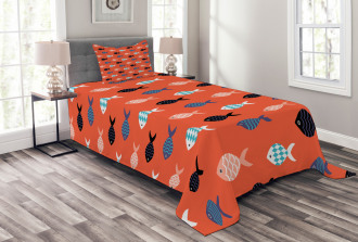 Colorful Fish Shoal Bedspread Set