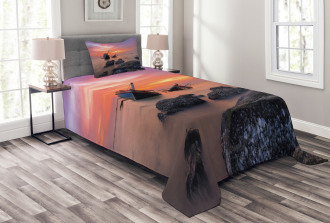 Foggy Water Sunset Bedspread Set