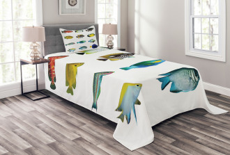 Sea Creatures Nautical Bedspread Set