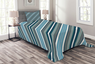 Gray and Blue Diagonal Bedspread Set