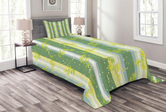 Spring Striped Flowers Bedspread Set