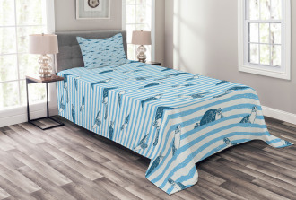 Turtle Blue Aquatic Bedspread Set