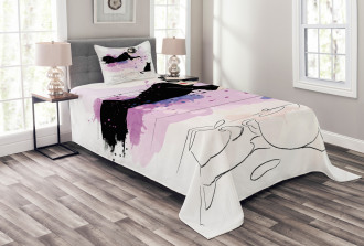 Stylish Girl and Cat Bedspread Set