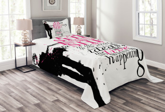 Paris Girl Words Bedspread Set