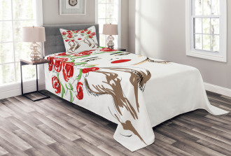 Lady with Floral Ornament Bedspread Set