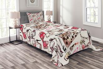 Feminine Beauty Items Bedspread Set