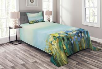 Aqua Painting Effect Bedspread Set