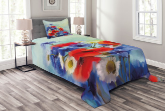 Poppy Chamomile Bouquet Bedspread Set