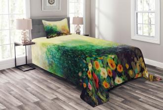 Wild Flowers on Meadow Bedspread Set