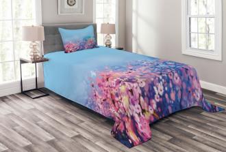 Retro Cherry Blossom Bedspread Set