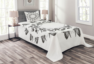 Gothic Skulls Butterfly Bedspread Set