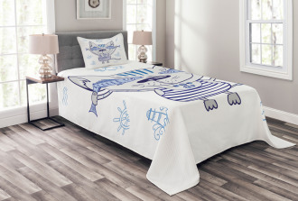 Cute Kitty Holding Fishes Bedspread Set