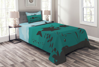 Fishing on Boat Nautical Bedspread Set