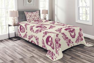 Maroon Motif Flowers Bedspread Set