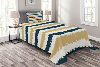 Navy Blue Beige Brush Bedspread Set