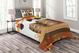 Golden Fall in Vineyard Bedspread Set
