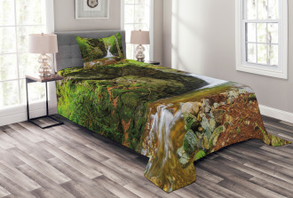 Spring Waterfall Nature Bedspread Set