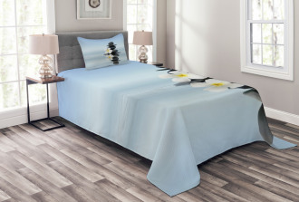 Asian Zen Stones Plumeras Bedspread Set