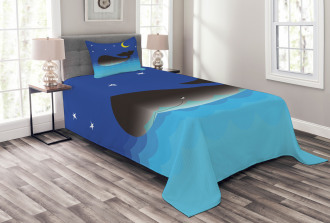 Whale in Ocean and Star Bedspread Set