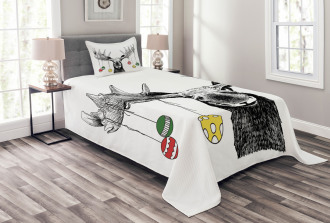 Sketchy Noel Ornament Bedspread Set