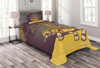 Asian Elephant in Nature Bedspread Set