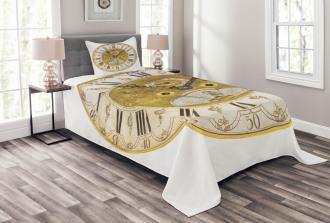 Ornamental Roman Digits Bedspread Set