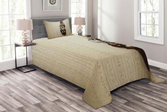 Wood Wall Carving Clock Bedspread Set
