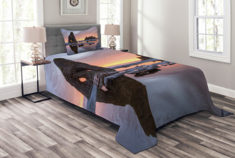 Sunset Sea Stacks Beach Bedspread Set