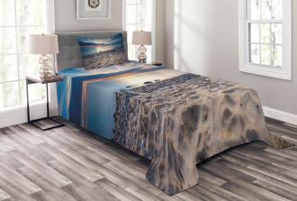 Rocky Sea Shore Trees Bedspread Set