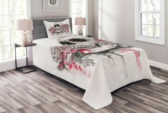 Skull Head Roses Bedspread Set
