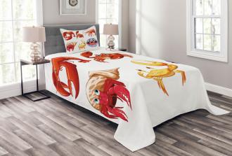 Crab Hermit Crab Lobster Bedspread Set