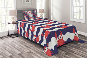 Cute Crabs on Striped Bedspread Set