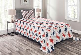 Sea Animals Theme Crabs Bedspread Set