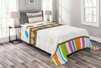 Birds Hearts Stripes Bedspread Set
