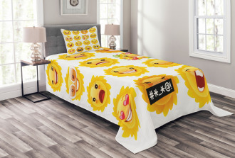 Smile Surprise Angry Mood Bedspread Set
