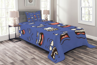Surprised Sad Fierce Mood Bedspread Set