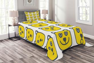 Cat Dog Smiley Expression Bedspread Set