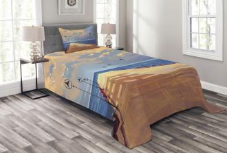 Bridge Pier Sea Harbor Bedspread Set