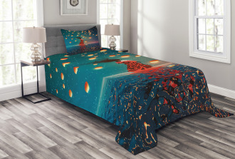 Red Magic Water on Air Bedspread Set