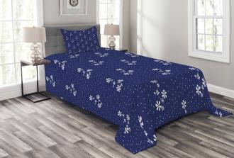 Floral Pattern and Dot Bedspread Set