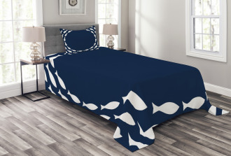 Ocean Navy Fish Circle Bedspread Set