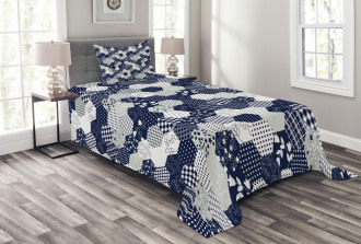 Patchwork Style Dots Star Bedspread Set