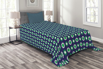 Floral and Round Dots Bedspread Set