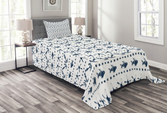 Anchor Starfish Sea Life Bedspread Set