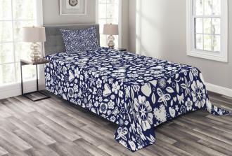 Heart Butterflies Leafs Bedspread Set